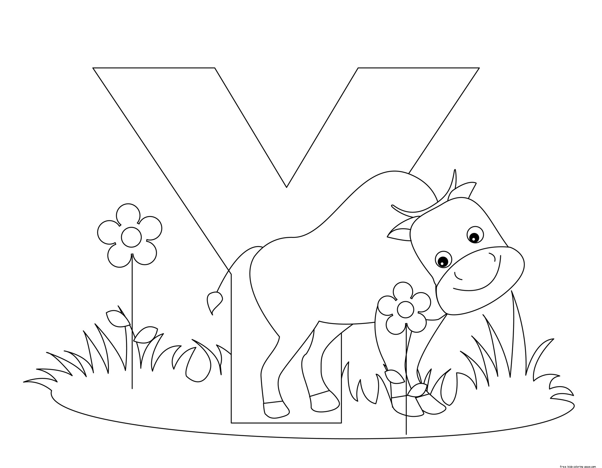 Printable Animal Alphabet Letter Y is for Yak - Free Kids ...