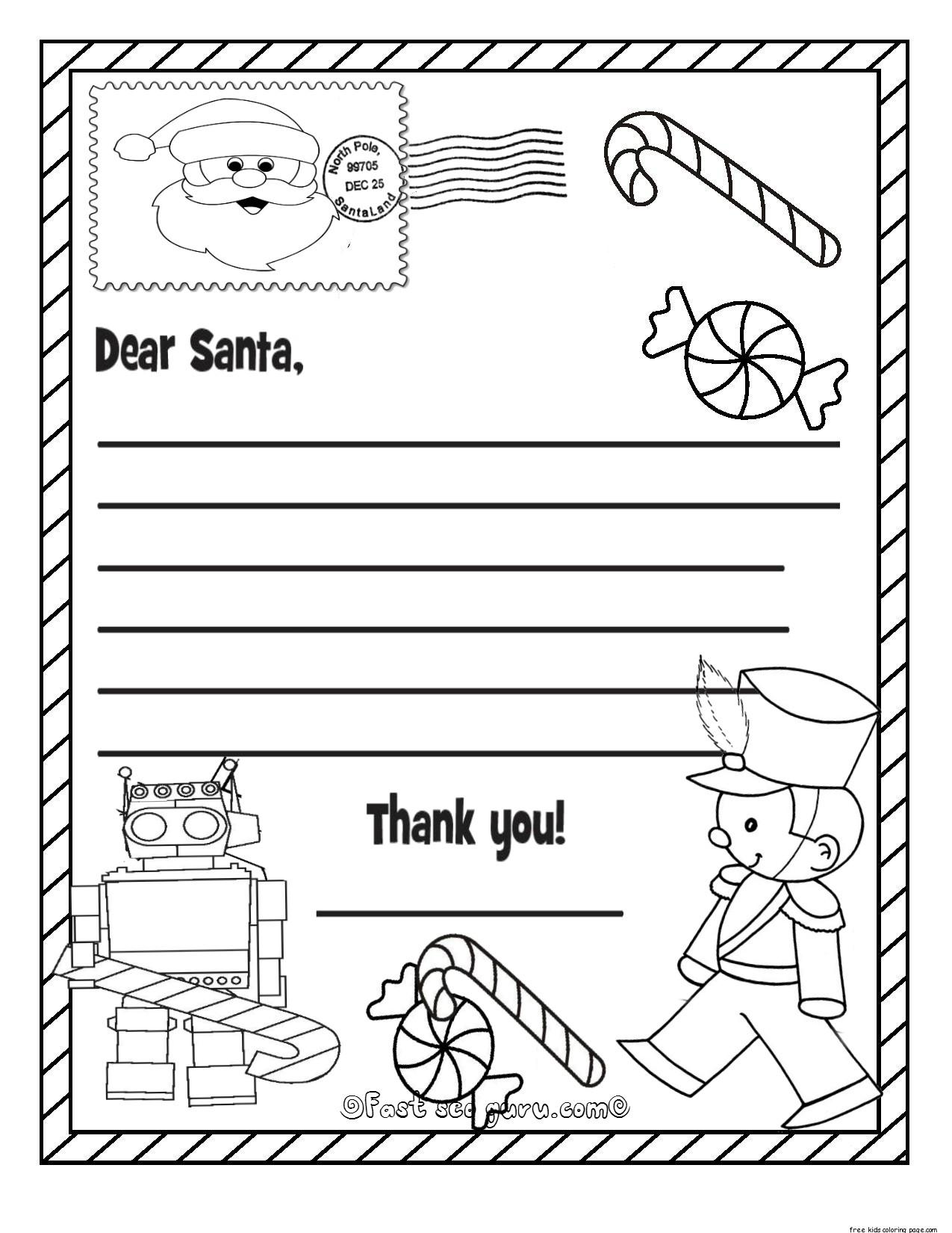 Printable Christmas Wish List To Santa Claus For Kids For