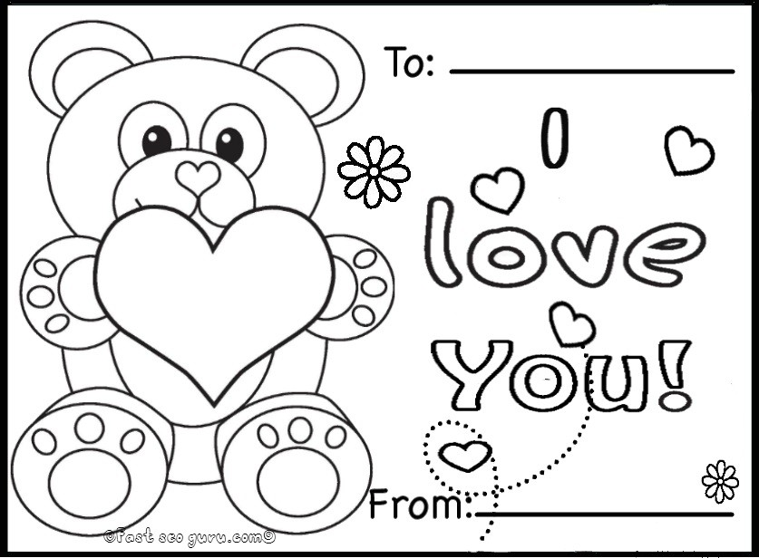 Valentines Day Cards Teddy Bears Printable - Free Kids Coloring PageFree Kids  Coloring Page