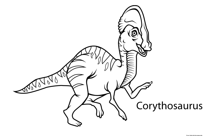 Preschool Dinosaur Coloring Worksheets Corythosaurusfree