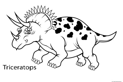 Printable dinosaur triceratops coloring in sheets