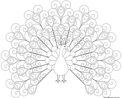 peacock coloring pages printable for kids