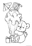 Printable teddy bear with birthday ice cream coloring pages