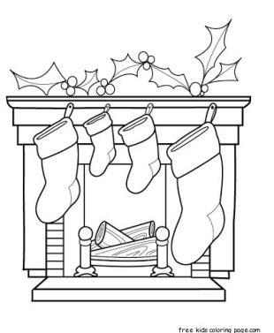 christmas stocking fireplace coloring sheet