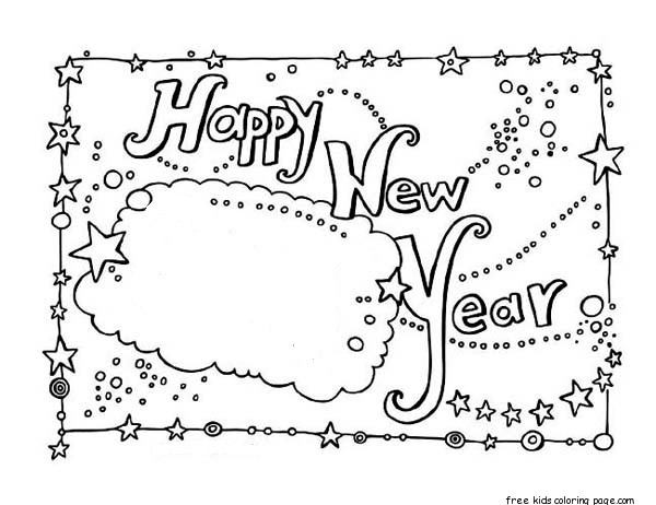 New Year Card Coloring Free Printable Coloring Pages For