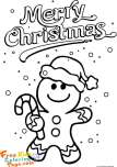 Print out gingerbread man coloring page Christmas for kids.