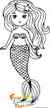 Cut coloring sheet easy mermaid print out for girl
