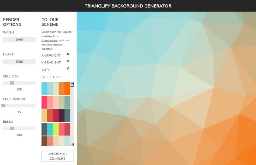 Инструмент Trianglify Background Generator