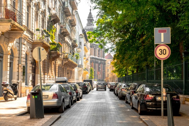 Sunny Street in Budapest, Hungary