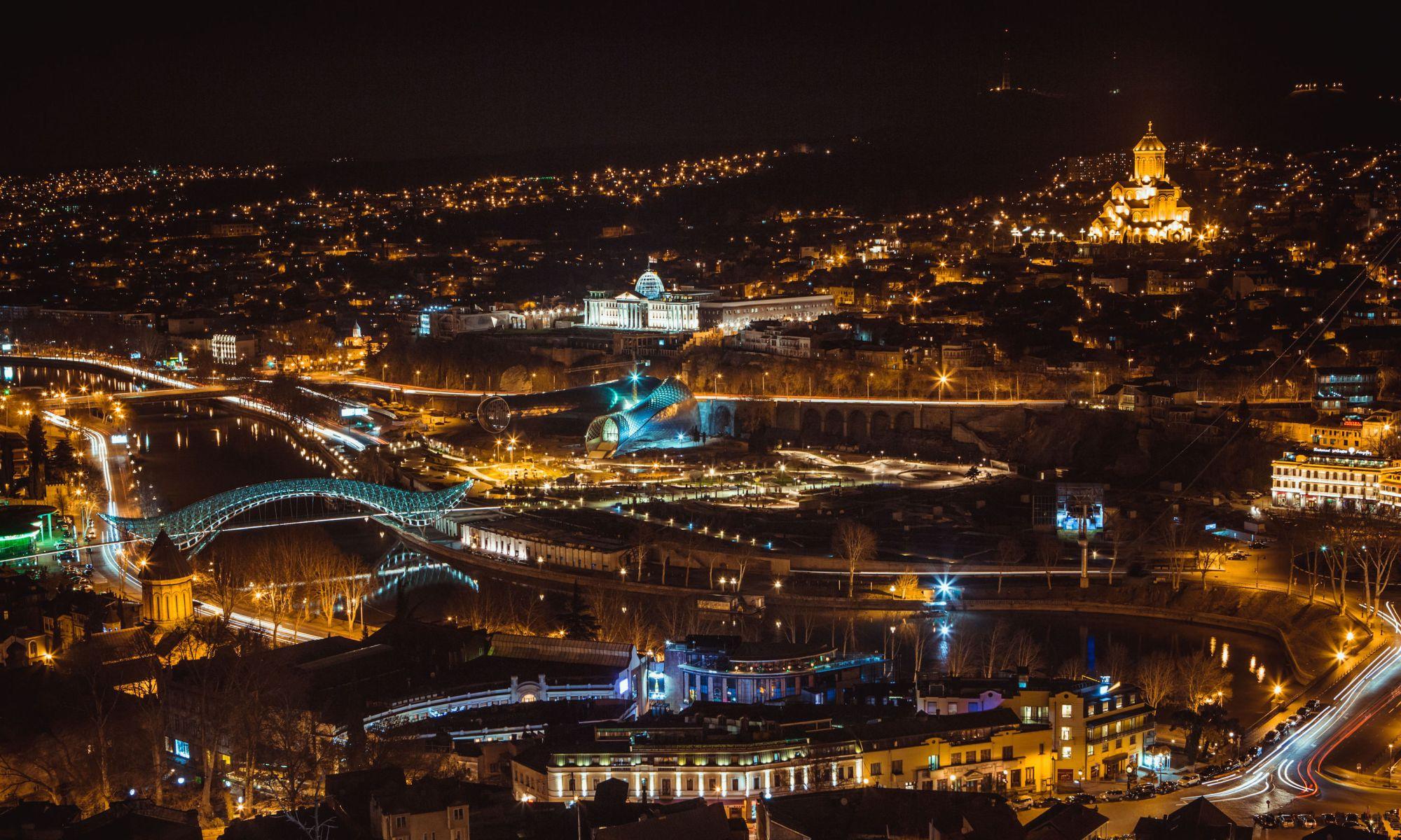Tbilisi panorama at night