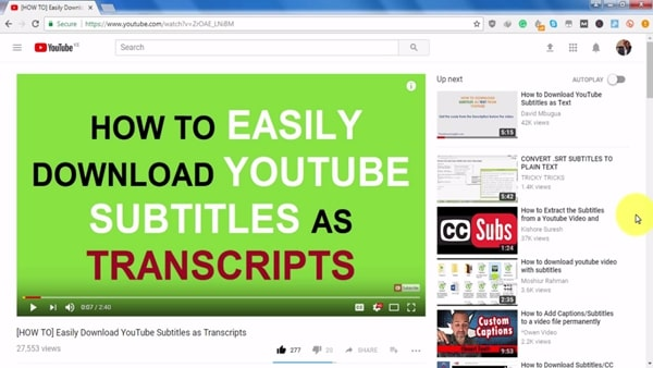 easily download youtube subtitles as transcripts