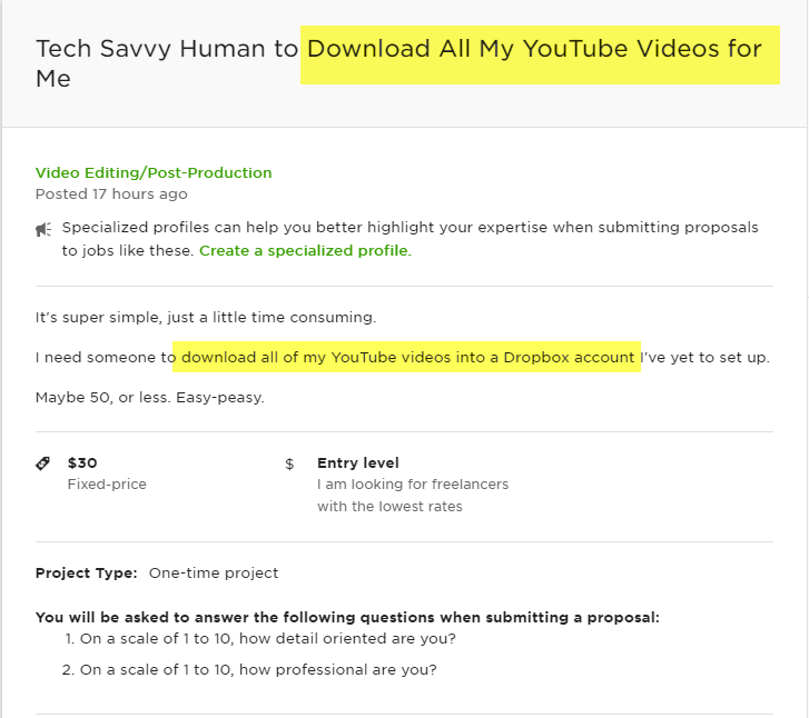 Easy Job on Upwork - Download YouTube Videos