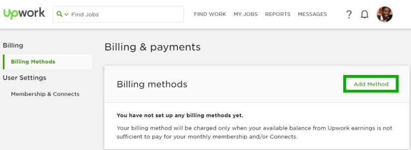 Add Billing Method on Upwork