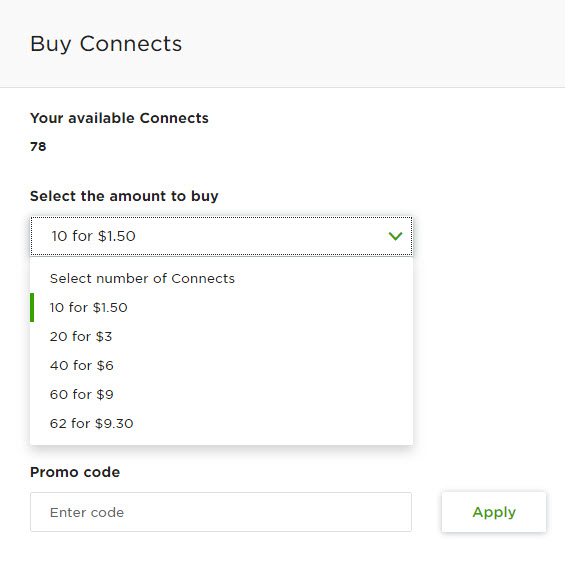 Select the amount of connects to buy