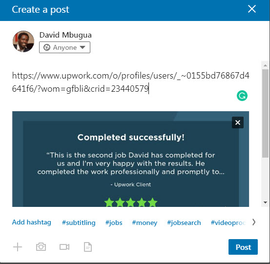Upwork Feedback Image on LinkedIn
