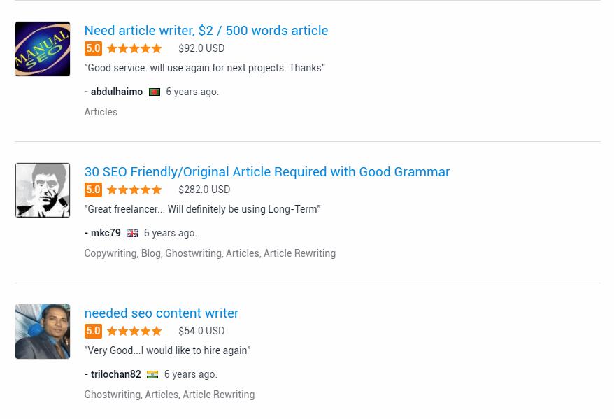 freelancer ratings
