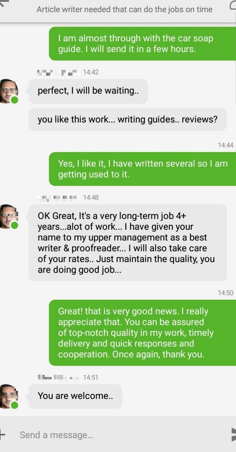 Awesome freelance writing client
