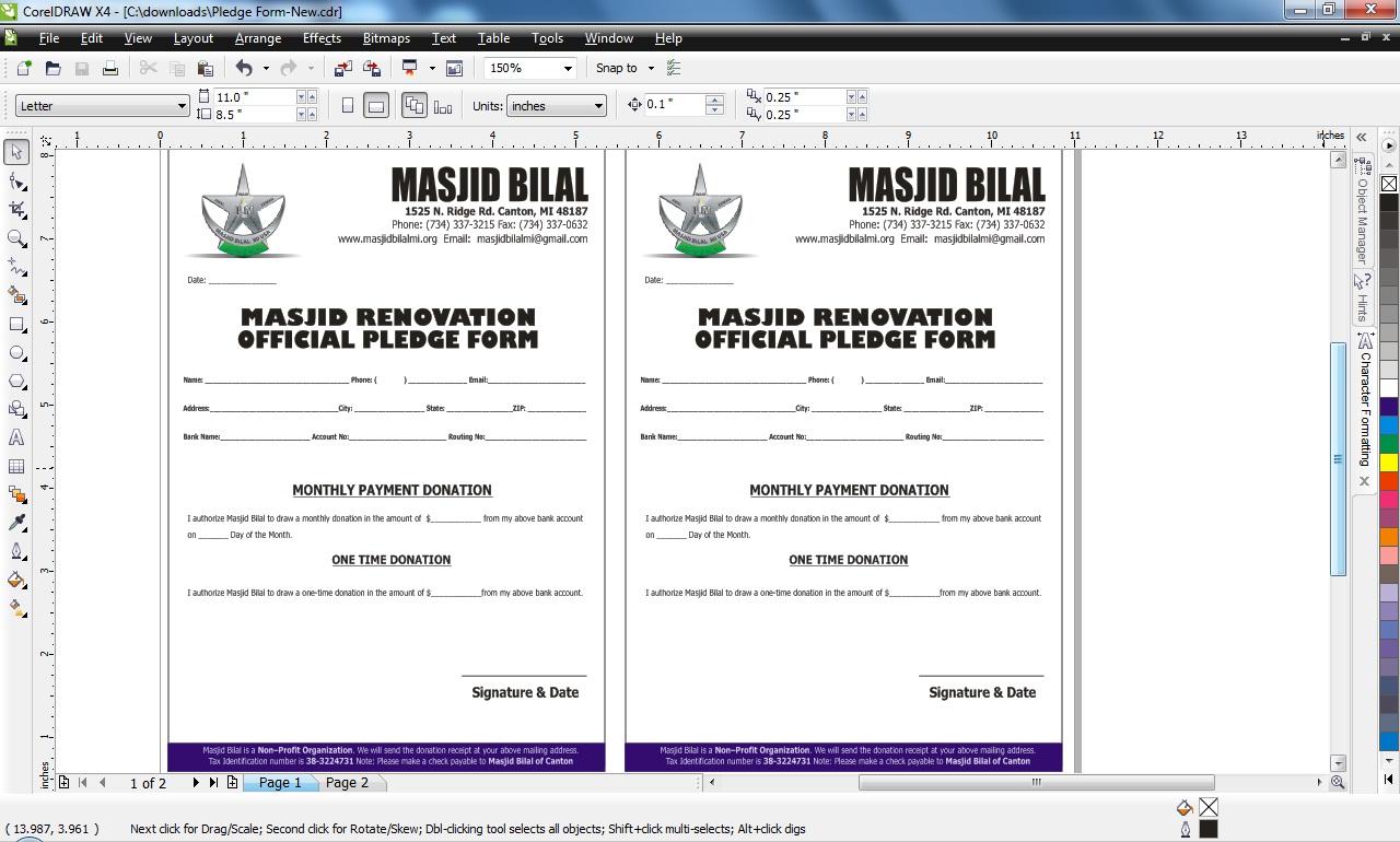 Pledge Form Design In Corel Draw