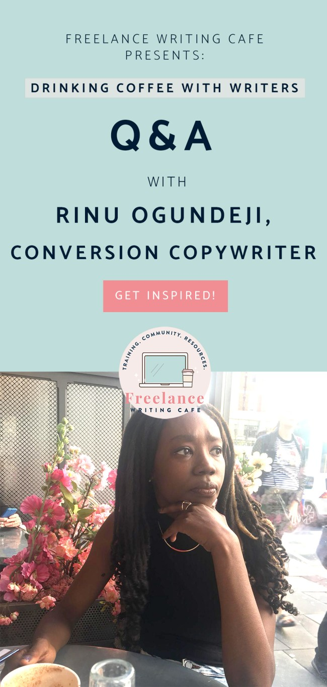 Rinu Ogundeji, Conversion Copywriter - Drinking Coffee With Writers - Pinterest