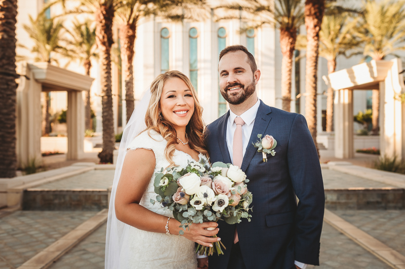LDS wedding photos of bride and groom at Gilbert Temple