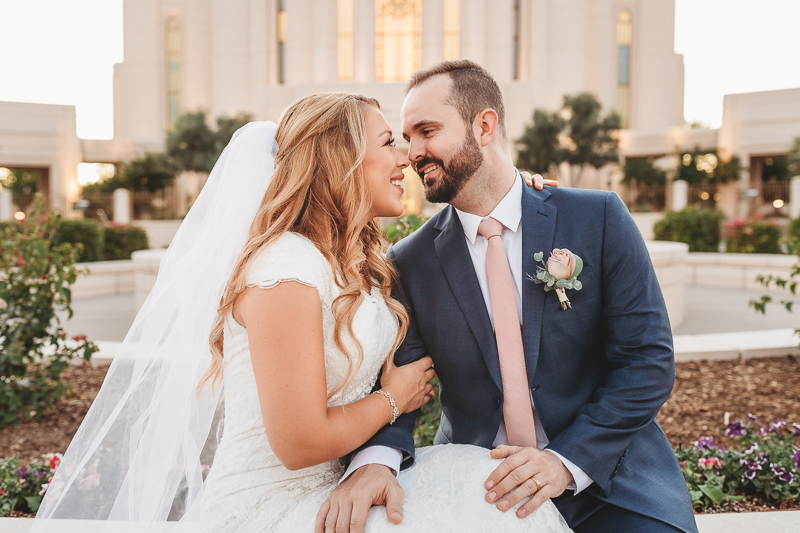 LDS bride and groom wedding photos at the front of the Gilbert Arizona Temple
