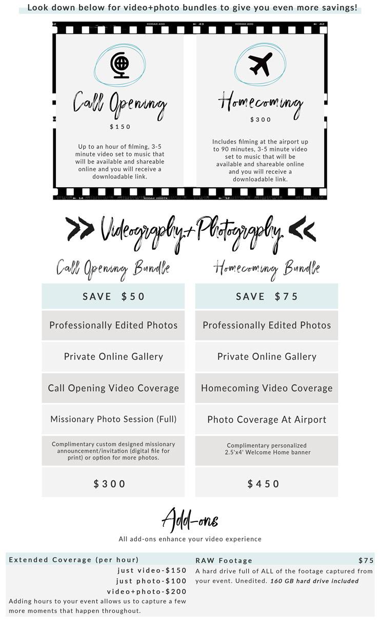 arizona photographer videographer lds missionary pricing