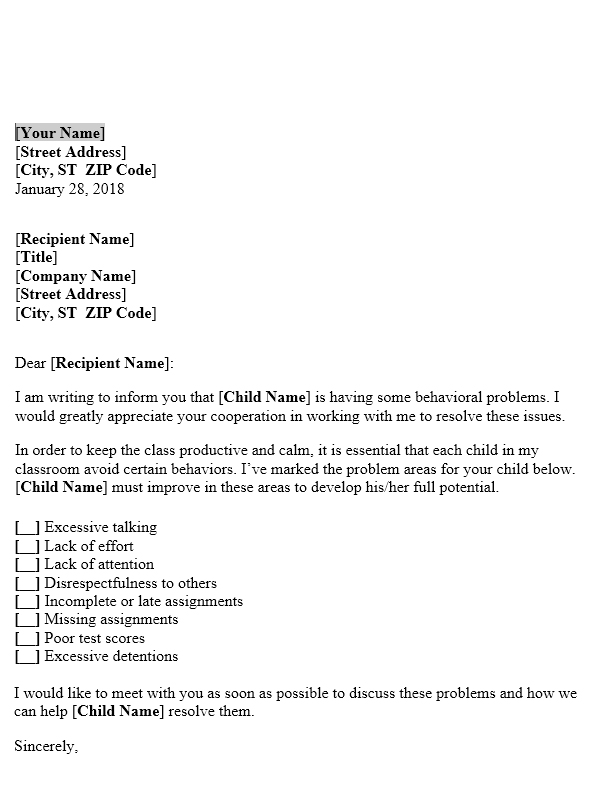 Letter To Parents About Students Behaviour In Classroom Useful Letters Templates
