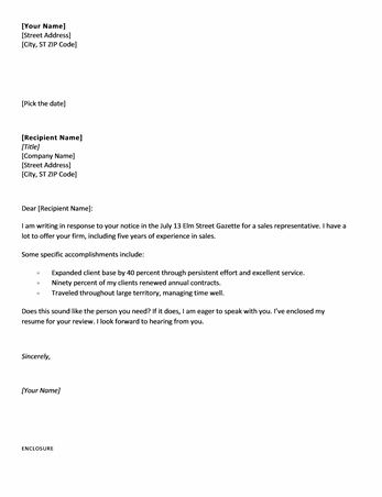 good short cover letters