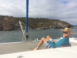 The Capt. in his element anchored off of Isla Pajarera in the bay