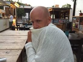 Ry wearing Kristin's sweater - always a treat