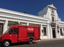 That's an old Coke truck and an old municipal building