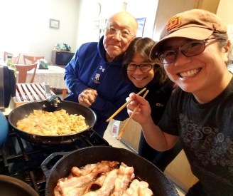 A family that cooks bacon together, stays together