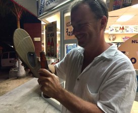 Jason using his brand new Reefs to open his Kiosko-bought Colima