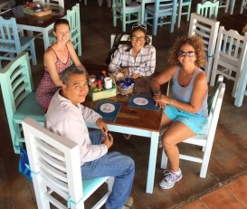 Lunch at La Huerta with Liz, Vicki, and Sotero, our trusty cabbie