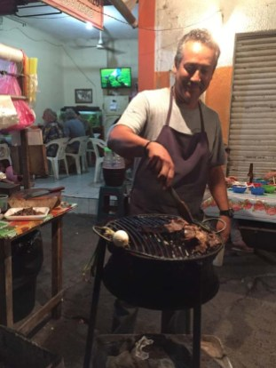 The chef at Miriam's street tacos in Barra