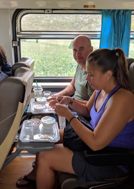 Noms on the A/C train to Chiang Mai
