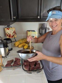 Third mate cookin' up the fish she caught