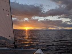 Underway at sunrise from Punta San Telmo