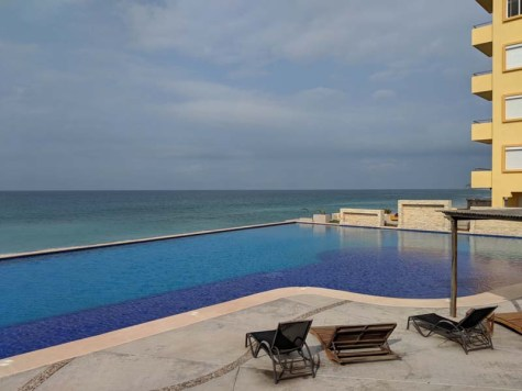 A view from the infinity pool at the Marina Maz beach bar