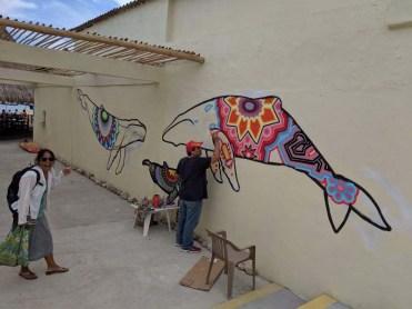 Wall art underway at El Anclote