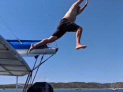 Thad taking off from the bimini