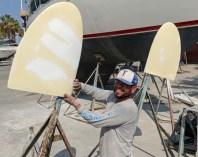 Ernesto prepping rudders