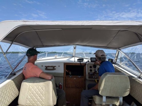 On the runabout to the island
