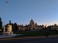Moon rising over the Legislative Assembly of BC