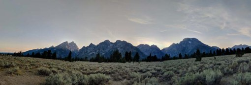 There they are - the mighty Tetons at sunset