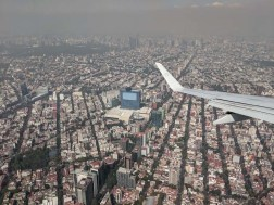 Flying into Mexico City and a layer of polluted air