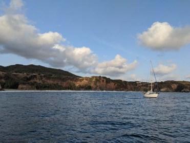 S/V Namahana at anchor in super beautiful, but super rolly, Caleta de Campos
