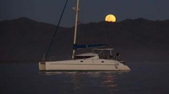 Back in Barra under a gorgeous full moon (PC Ken on Island Drifter)