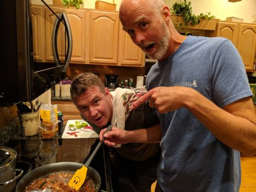 Cooking Thai with his sidekick, Thad, in Florida