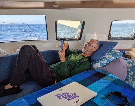 The Captain trying to relax while underway